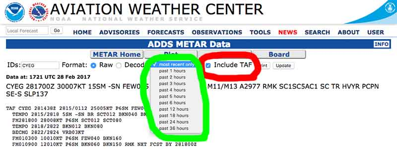 Aviation Weather Sources - Aviation Weather Center - TAF
