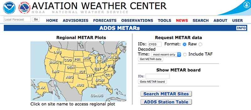 Aviation Weather Sources - Aviation Weather Centre