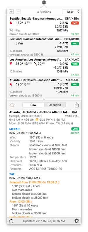 Aviation Weather Sources - AeroWeather Mac
